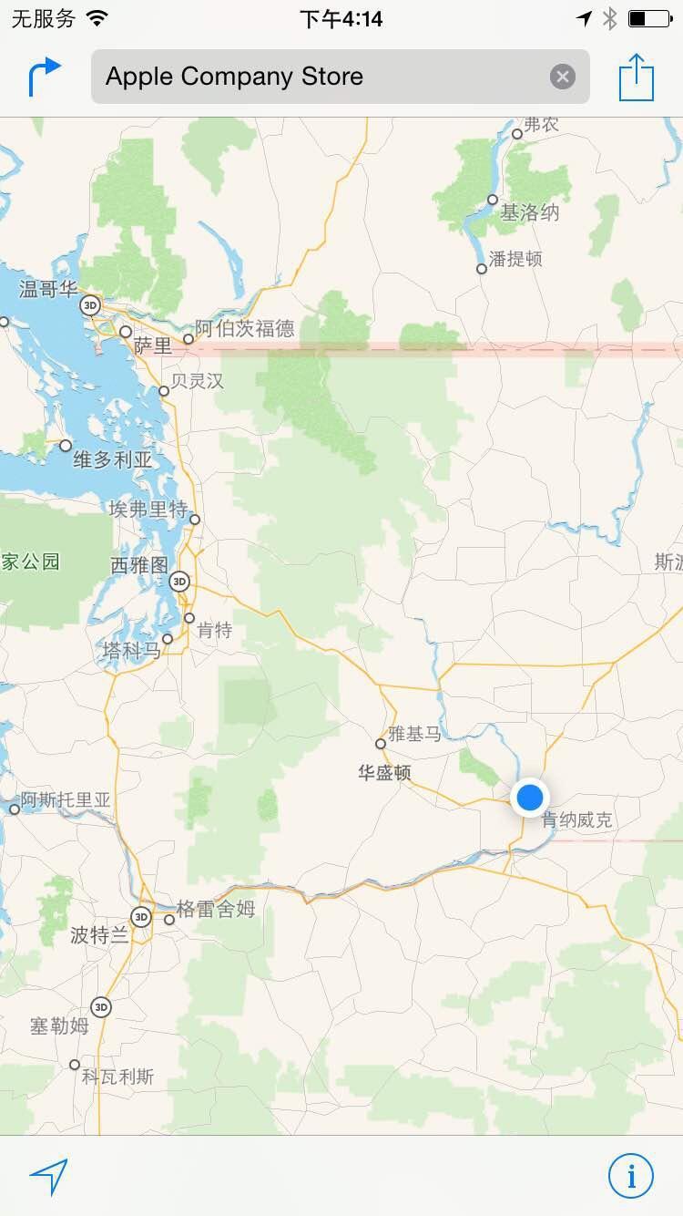 在飞机上用手机的苹果地图检查一下所在位置,清晰的看到在华盛顿州