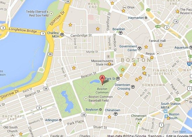 从地图上就能看到boston common在波士顿本来不大的土地上占地几何!
