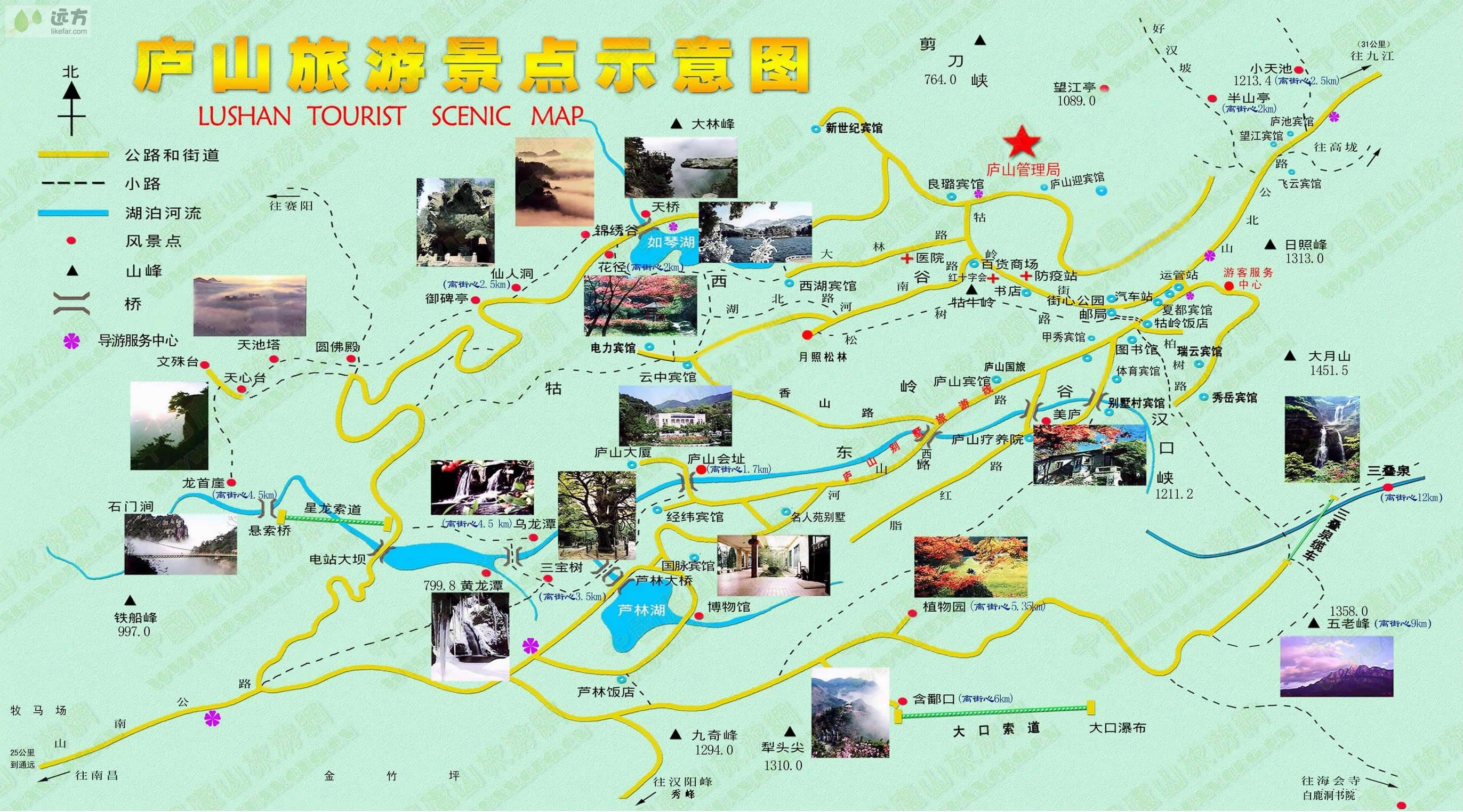 >植物园>三叠泉>九江长江 自行指南: 1 线路:庐山观光主要分为东