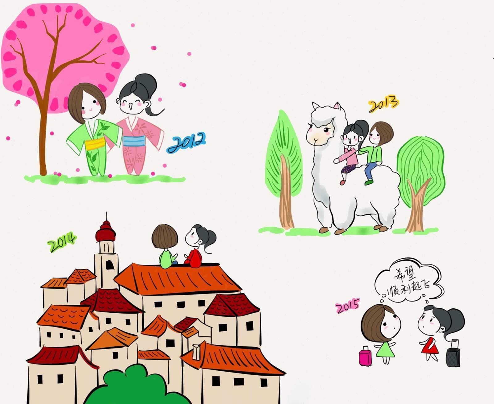 东南亚房子卡通手绘