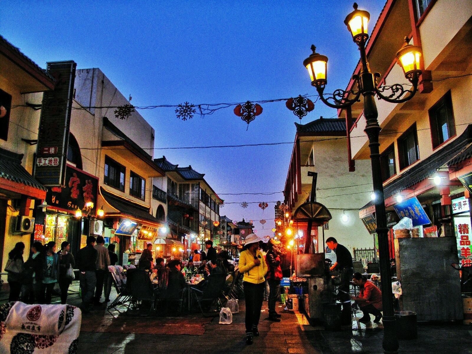 敦煌沙洲夜市图片
