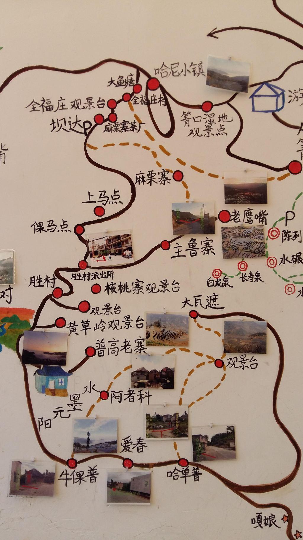所住客栈老板手绘游览地图