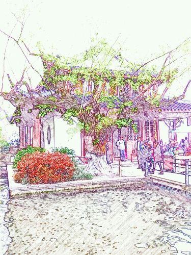 古街手绘效果图
